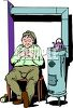 Janitor Sleeping by a Furnace in a Basement clipart