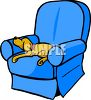 Family Dog Sleeping in a Chair clipart