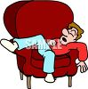 Teenage Boy Sleeping in a Chair clipart