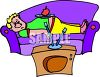 Fat Kid Napping in Front of the TV clipart