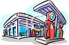 Cartoon of an Old Fashioned Service Station clipart
