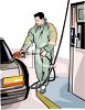 Man Wearing a Parka Getting Gas clipart