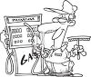 Black and White Gas Station Employee clipart