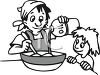 Little Girl and Her Mother Baking clipart