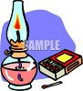 Oil Lamp with Matches clipart