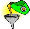 Oil Pouring Into a Funnel clipart