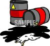 Spilled Drums of Oil and a Dead Bird clipart