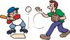 Boy Playing Baseball with His Dad clipart