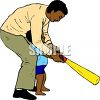 African American Dad Showing His Little Son How to Use a Bat clipart