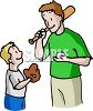 Boy Learning Baseball from His Dad clipart