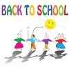 Kids Holding Hands with Back to School Text clipart