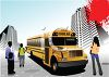 Realistic High School Kids Getting on a School Bus in the City clipart