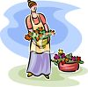 Woman Filling Containers with Flowers clipart