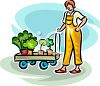 Woman Pulling a Cart of New Shrubs to Plant in Her Yard clipart