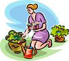 Woman Planting Flowers in Pots clipart