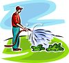Man Watering His Lawn with a Hose clipart