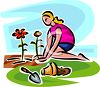 Young Woman Planting Flowers in a Garden clipart
