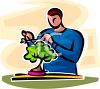 Man Trimming a Bonsai Tree clipart