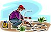 Man Planting a Garden with Seeds clipart