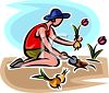 Woman Planting Tulip Bulbs clipart