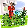 Woman Watering Her Yard Talking on a Cellphone clipart