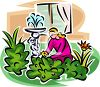 Woman Planting Flowers in Her Yard clipart