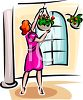 Woman Hanging Baskets on Her Porch clipart