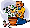 Woman Creating a Topiary clipart