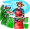 Lady Cutting Tulips in Her Garden clipart