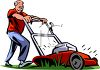 Old Guy Mowing His Grass clipart