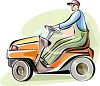 Man on a Riding Lawnmower clipart