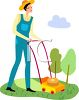 Woman Mowing Her Lawn clipart