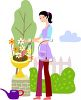 Lady Planting Flowers clipart