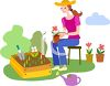 Young Woman Planting Flowers in a Garden Box clipart