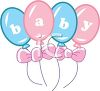 Pink and Blue Balloons Spelling Out Baby clipart