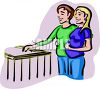 Expecting Parents Looking in the Nursery clipart