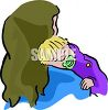 Baby Sleeping on His Mother's Shoulder clipart