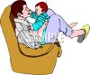 Father Playing with His Baby in a Chair clipart