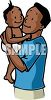 African American Father Holding His Baby clipart