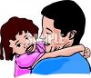 Daughter Hugging Her Dad's Neck clipart