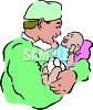 New Father Holding His Baby for the First Time clipart