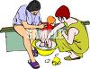 Lesbian Couple Bathing Their Child clipart