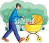 Dad Walking His Baby in a Park clipart