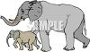 Mother Elephant and Her Baby clipart