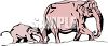 Elephant Calf and It's Mother clipart