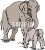 Protective Mother Elephant and Her Calf clipart