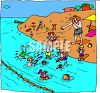 Kids Playing in the Ocean  clipart