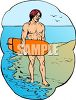 Surfer Guy Walking Along the Beach clipart