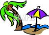 Beach Umbrella and a Palm Tree clipart