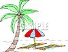 Palm Tree and a Beach Umbrella and Towels clipart